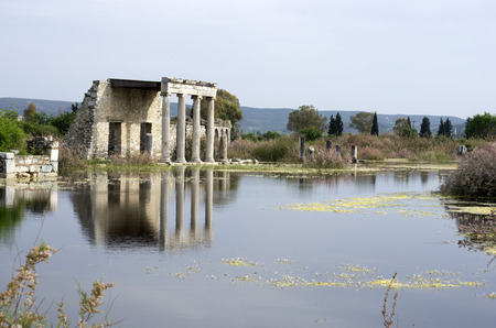 Lake and Apollon Temple in Miletus ancient city, Turkey