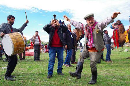 Selcuk, Izmir / Turkey - JANUARY 19 / 2014 : Aegean Folk dancer man performing at camel wrestling carnaval