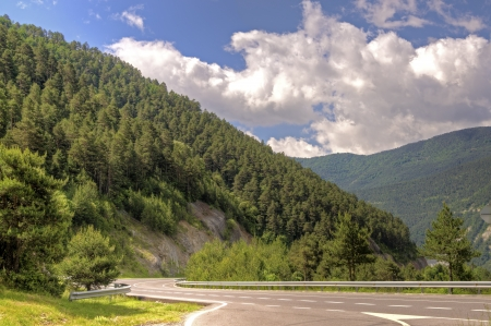 Highway in Pyrenees mountains