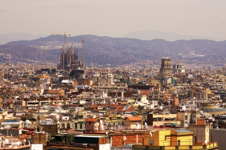 Aerial view of Barcelona city with Sagrada Familia in background, Spain  Stock Photo