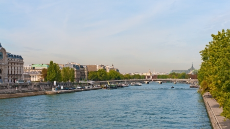 Panoramic view of river Seine in city of Paris, France