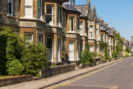 Row of terrace house in typical English street  Stock Photo