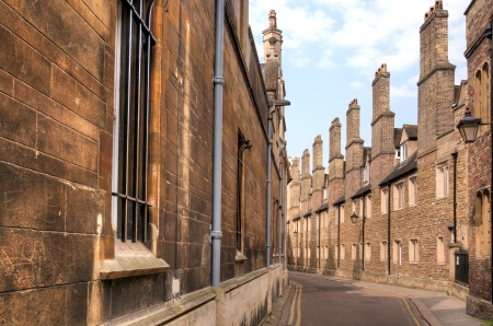Narrow old street in Cambridge city, England Stock Photo