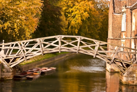 Mathematical bridge in Autumn Stock Photo