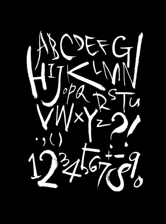 Vector fonts  Handwritten calligraphy with uppercase letters and numbers.