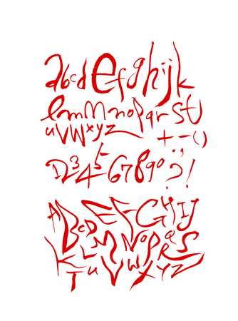 Handwritten calligraphy with lowercase and uppercase letters and numbers. Illustration