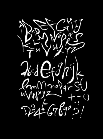 Vector fonts, Handwritten calligraphy with  uppercase and lowercase letters and numbers. Illustration