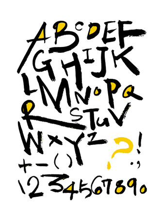 Vector fonts, Handwritten calligraphy with  uppercase letters and numbers.