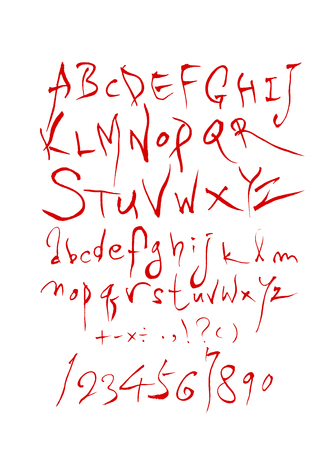 Vector fonts  Handwritten calligraphy with lowercase and uppercase letters and numbers.