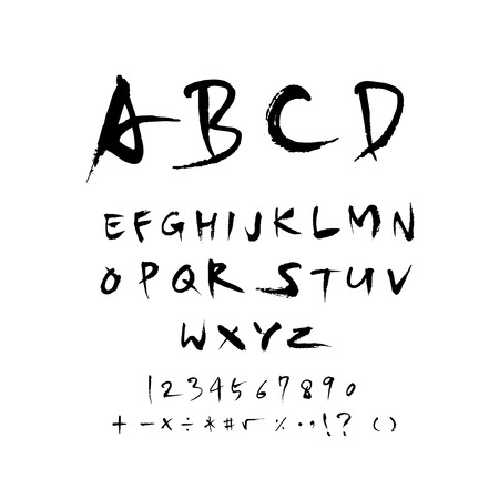 Vector fonts, Handwritten calligraphy with uppercase letters and numbers. Reklamní fotografie - 94674030