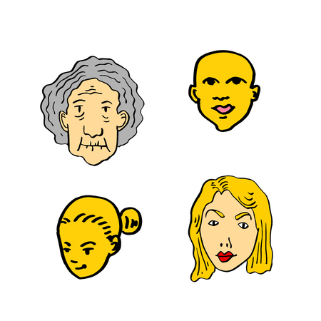 Character expression, hand drawn face vector illustration.