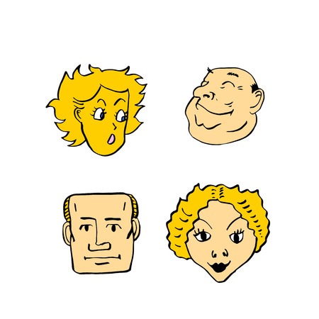 Character expressions, hand drawn face vector illustration.