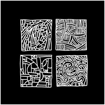 Zen tangle pattern  Hand drawn mosaic illustrations - vector