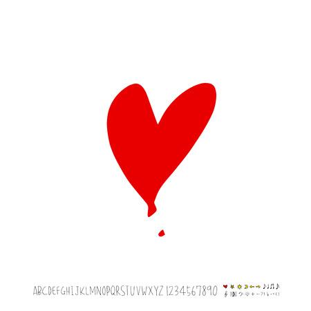 Heart pattern / Hand drawn heart sketch - vector Illusztráció