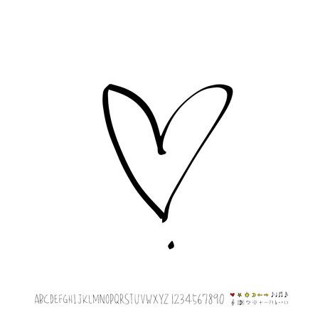 Heart pattern / Hand drawn heart sketch - vector Иллюстрация