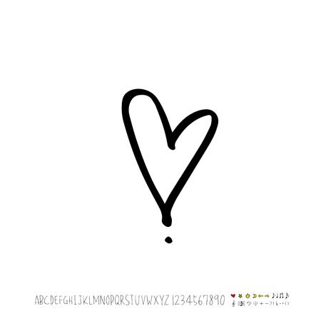 Heart pattern / Hand drawn heart sketch - vector Illustration