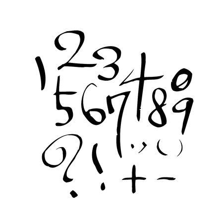 Numbers handwritten calligraphy