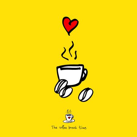 Cafe poster, sketchy coffee illustration vector illustration.