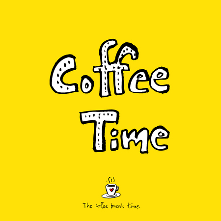 Cafe poster, sketchy coffee vector illustration with text coffee time.
