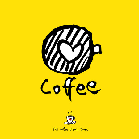 Cafe poster, sketchy coffee vector illustration wit heart and cup.