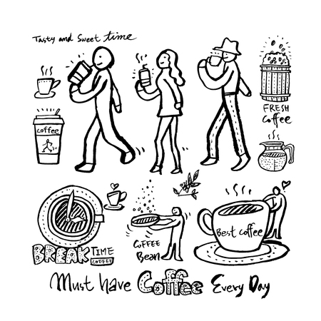 Cafe poster. Sketchy coffee illustration - vector