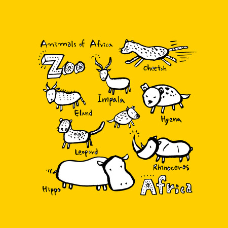 Animal sketch Hand drawn Zoo illustration - vector