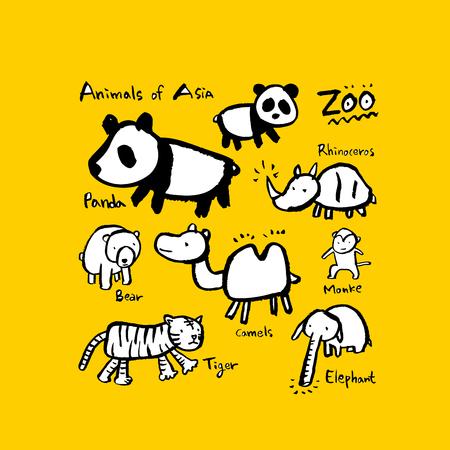 Animal sketch   Hand drawn Zoo illustration - vector Illustration