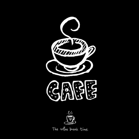 Cafe poster or Sketchy coffee illustration vector.