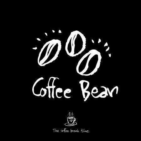 Affiche de café ou grain de café sommaire avec illustration de texte - vecteur.