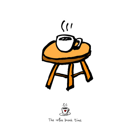 Cafe poster or sketchy coffee on chair  illustration vector Illustration