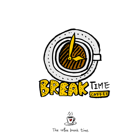 Cafe poster or sketchy coffee break with clock illustration vector