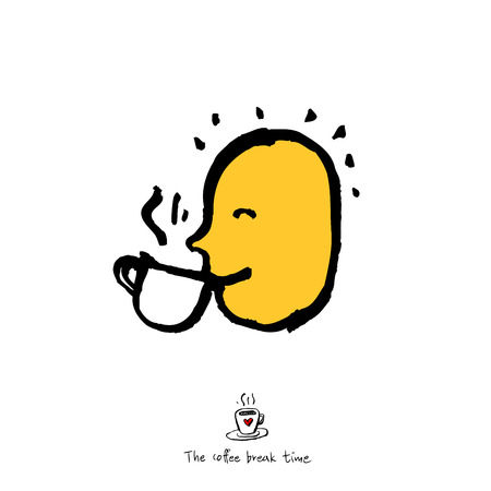 Cafe poster or Sketchy man drinking coffee illustration vector