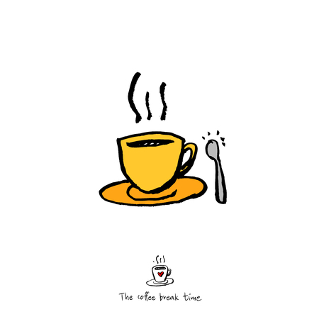 Cafe poster or sketchy coffee in cup illustration - vector