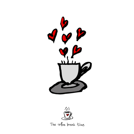 Cafe poster or sketchy coffee cup hearts  illustration vector