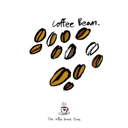 Cafe poster or sketchy coffee bean illustration  vector