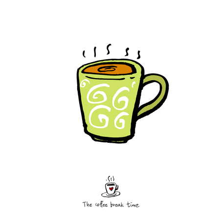 Cafe poster or sketchy coffee cup illustration  vector