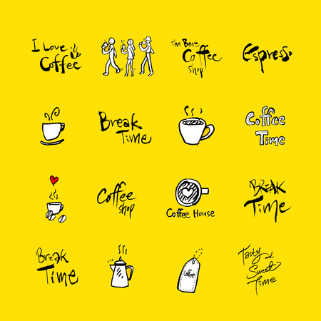 Cafe poster  Sketchy coffee illustration - vector