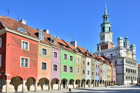 poznan: Houses and Town Hall in Old Market Square, Poznan, Poland