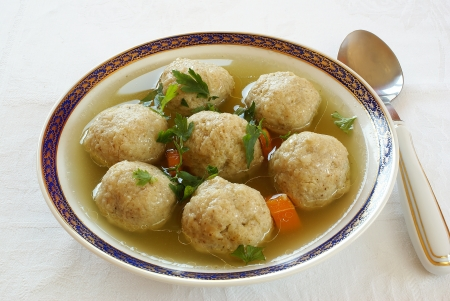 Matzo  Matzah  balls soup                    photo