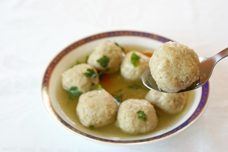 matzo balls: Matzo  Matzah  balls soup                Stock Photo