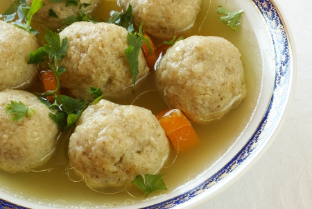 Matzo  Matzah  balls soup                    photo