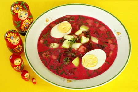 hard boiled: Cold borscht with hard-boiled eggs