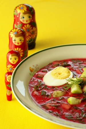 Cold borscht with hard-boiled eggs                     photo
