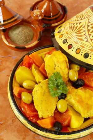 moroccan cuisine: Moroccan chicken tagine      Stock Photo