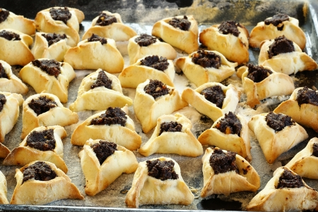 jewish holiday: Homemade cookies with poppy seed filling for Purim (Hamantaschen)