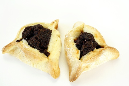 jewish cuisine: Homemade cookies with poppy seed filling for Purim (Hamantaschen)