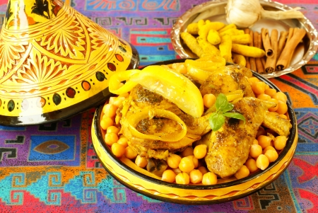 arabic food: Moroccan chicken with chickpeas                 Stock Photo