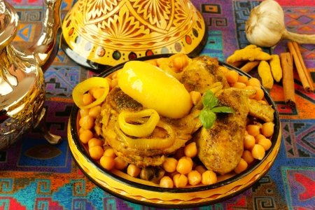 moroccan cuisine: Moroccan chicken with chickpeas
