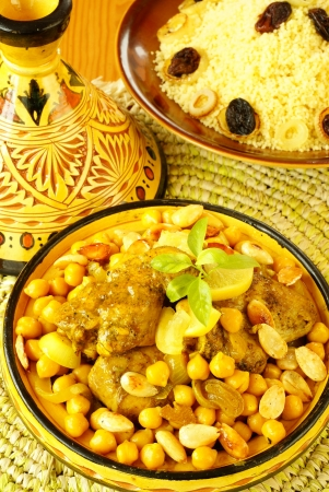 moroccan cuisine: Moroccan chicken with chickpeas              Stock Photo