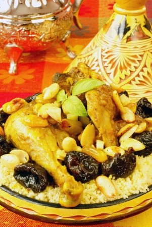 moroccan cuisine: Moroccan chicken with plums and almonds